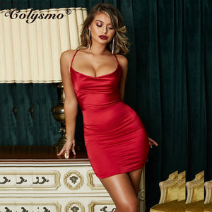 Colysmo Summer Leopard Print Satin Dresses Woman Party Night Sexy Low Cut Backless Dress Red Slim Stretch Short Dress Vestido