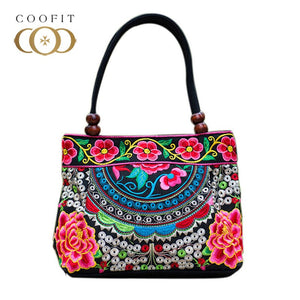 Double Side Bag National Folk Traditional Style Handbag Portable Bag
