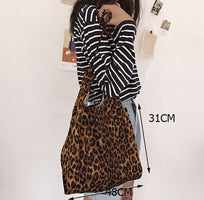 Corduroy Leopard Print Canvas Bag  Ladies Shoulder Casual Tote Shopping Bag Large capacity Handbags Totes Women