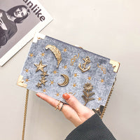 Corduroy Metal Badge Box Shape Handbag Purse Women Black Chain Party Clutch Bag Kawaii Shoulder Bag Crossbody Messenger Bag