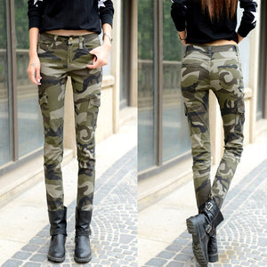 Cotton Lady Cargo Pant Camo Skinny Cargo Pants Women New Casual Camouflage
