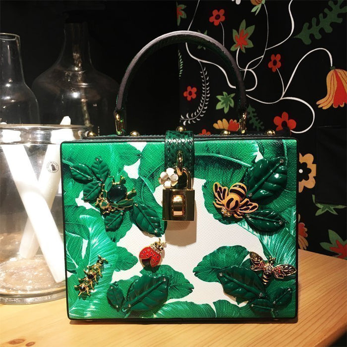 Cow Leather Inlaid Gemstone Green Insect Beaded Box Bags Female Luxury Fashion High Quality Purses and Handbags