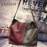 Cowhide Leather Hobo Bag Women Vintage Soft Genuine Leather Slouch Bag Female Handmade Retro First Layer Leather Shoulder Bag