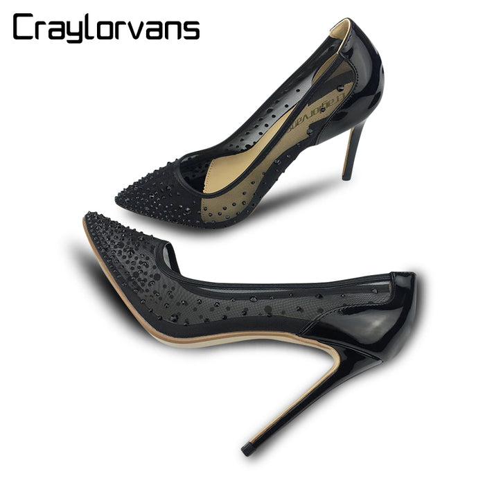 Craylorvans Silver Bling Party Wedding Stiletto Shoes 10/8 cm  Heels Fashion Design Women's High Heel Pumps Summer See Through