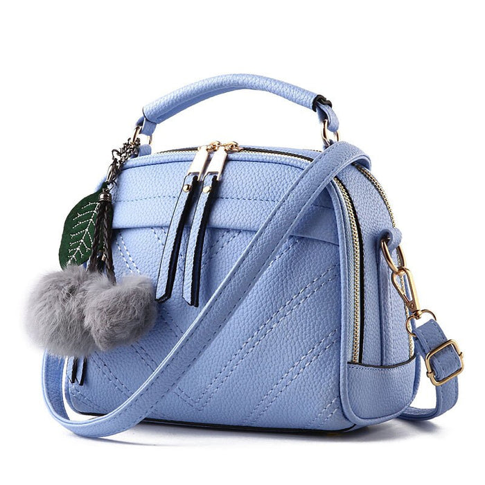 Crossbody Bag for Women Double Zipper Square Shoulder Bag Locomotive Messenger Bag Sky Blue PU Leather Chain Luxury Ornament Red