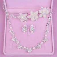 Crown famous brand 3 pieces Headwear + earrings + necklace bride lace headdress jewelry sets Korean wedding girlfriend gift