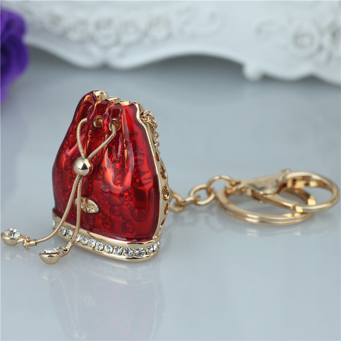 Crystal Rhinestone Alloy Keychain For Women Handbag Trinket Porcelain Fused Large Bag Key Ring Car Key Holder Chaveiro