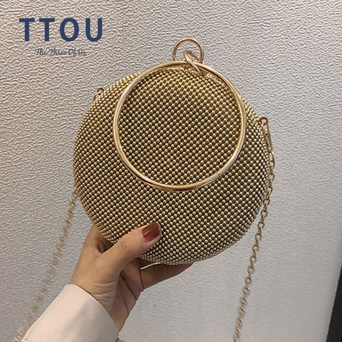 Crystal bag simple bridal wedding purse shining cross body bag women evening party crystal shoulder bag diamond circle round bag