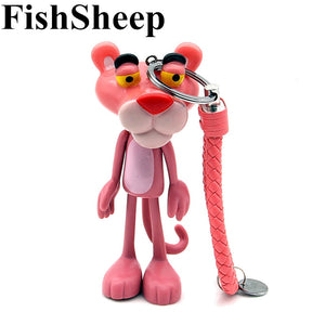 Cute Cartoon Pink Panther Keychain Key Ring Holder For Women Men Lovely Plastic Pendant Charms Fit For Bag Purse Accessories