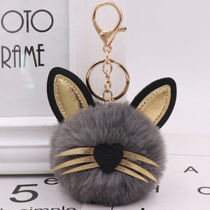 Cute Leather Cat Keychain Pompom Faux Fur Ball Car Keyring Baby Toy Key Chain Women Key Holder Trinkets Bag Pendant Jewelry Gift