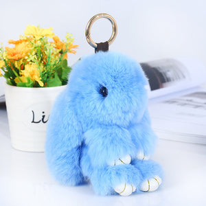 Cute Lovely 13cm Bunny Rabbit Key Chains For Women Bag Cars Fake Fur Fluffy Unicorn Horse Animal Keychain Ring Pom Pom Jewelry