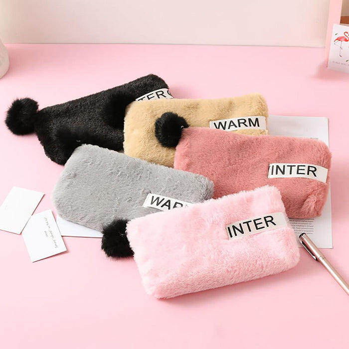 Cute Women Plush Pen Bag Pencil Bag Pencil Case Pen Box Storage Case Stationary Pompom Zipper Pouch School Supplies Gift
