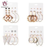 DANZE Fashion Jewelry 5Pairs/Lot Stud Earrings Sets Crystals Rhinestone Leopard Print Big Circle Gold Earrings for Women Girls