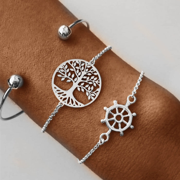 DIEZI Bohemia Vintage beach tree of life Charm Bracelet Sets For Women Silver Metal Chain Bracelets Beads Jewelry Gifts