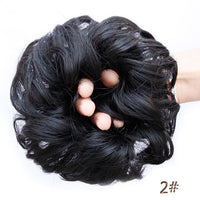 DIFEI Curly Chignon Heat Resistant Synthetic Hair Elastic Hairpiece Curly Bun Mix Gray Blond Natural Chignon Hair Extension