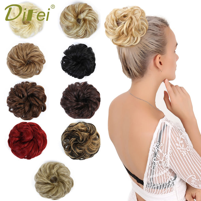 DIFEI  Girls Curly Scrunchie Chignon With Rubber Band Brown Blonde Synthetic Hair Ring Wrap For Hair Bun Ponytails