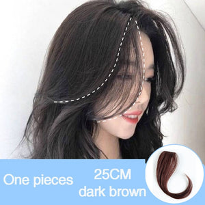 DIFEI Long Clip In on Front Hair Bang Side Fringe Hair Extension Real Natural Synthetic Bangs Hair Piece for Women
