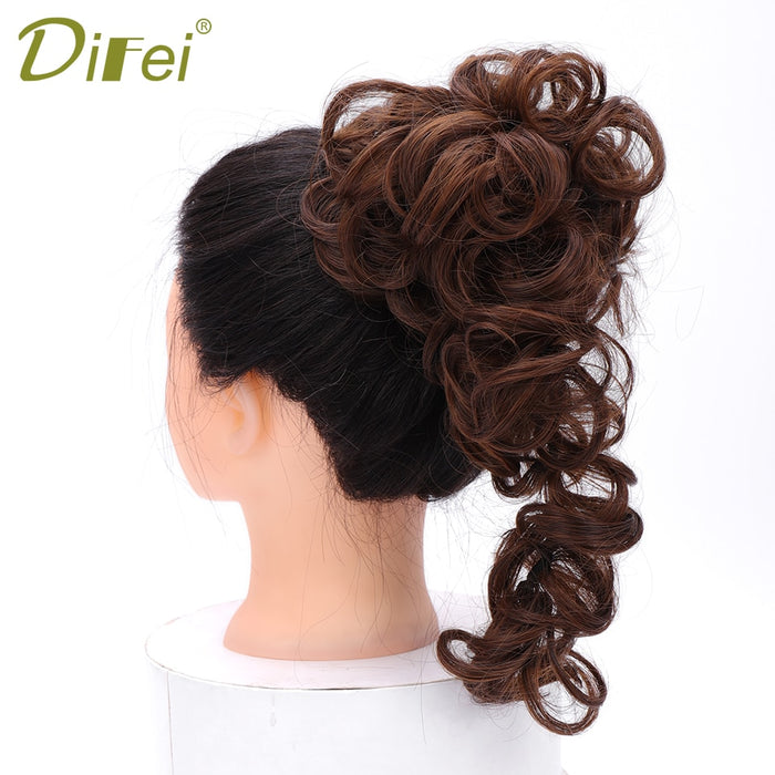 DIFEI Rubber Band Hair Extension Hair Bun Short Curly Heat Resistant Synthetic Hairpieces Black Brown Colors Women Chignon