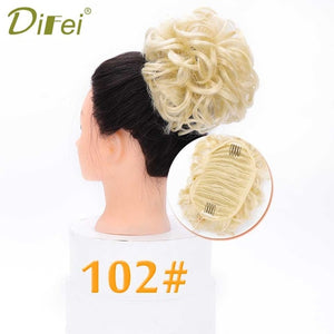 DIFEI  Short Curly Chignon Women's Synthetic Hair Bun Black Brown Hair Extension With Chignon Rubber band Combs  in Hairpiece