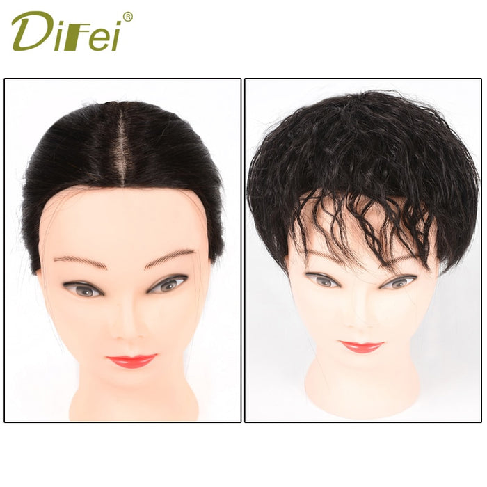 DIFEI synthetic Hair Clip In Toupee Hairpieces Corn Beard Natural Color Curly Hair Bang Fringe Top Closures Hairpins for Women
