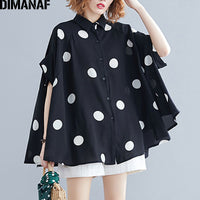 Plus Size Women Blouse Shirt Big Size Summer Casual Lady Tops Tunic Print Polka Dot