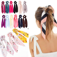 DIY Solid/Floral Print Bow Satin Long Ribbon Ponytail Scarf Hair Tie Scrunchies