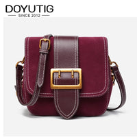 DOYUTIG European Style Women's Luxury Genuine Leather Cross-body Bags Classical Saddles Real Nubuck Leather Shoulder Bags F642