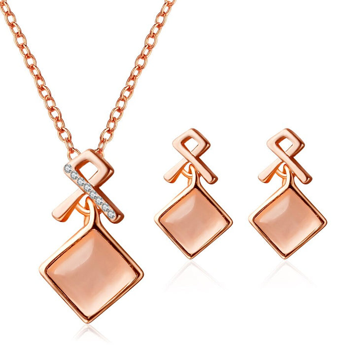 DSHOU45 Fashion Set Fashion Set Square red yellow crystal stone set Opal Stud Earrings Necklace Jewelry 2 Piece Set