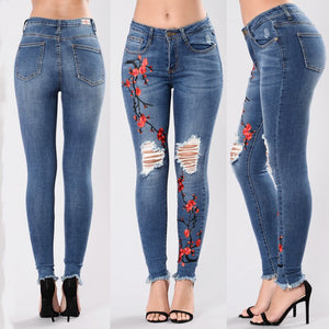 DSQUAENHD Casual Long Jeans Women High Waist Skinny Pencil Blue Denim Pants Ripped Hole Cropped Slim Fit Embroidery Jeans Female