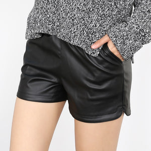 Autumn Winter Women Casual Black Leather Shorts Ladies Waist Booty Shorts  Female Slim Short Mujer