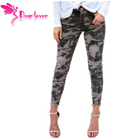 Dear Lover New Fashion Women Skinny Camouflage Jeans Women Pencil Stretch Casual