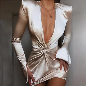 Deep V Neck Satin Shir Party Mini Dress Women Spring Summer Flare Sleeve Bodycon Dress Female Elegant Slim Club Dress 2019 New