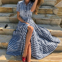 Deep V Neck Shawl Collar Surplice Wrap Flounce Striped Belt Long Dress Casual Party Swing Dresses Women's Summer Dress 2019
