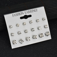 Delicate 12 pairs Women Round Crystal Heart Stud Earrings for Women Piercing Imitation Pearl Earrings Set Wedding Party