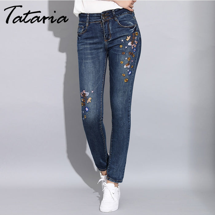 Skinny Jeans with Embroidery Stretch Female Jeans Pants Trousers Women Slim