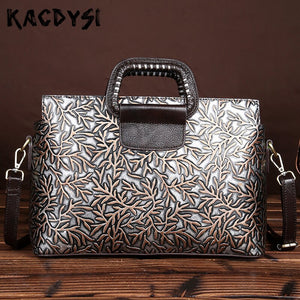 Genuine Leather Retro Briefcase Embossing Laptop Bag Fashion