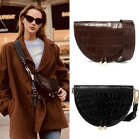 Designer Saddle Bag Leather Handbags Women Bags Alligator Half Moon Girl Messenger Shoulder Bag Crocodile Crossbody Wide Strap