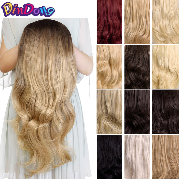 "DinDong 24"" Half Wigs With Clip in Hair Extensions Long Full Wavy Hair Black Dark Light Brown 3/4 Synthetic Wigs Heat Resistant"