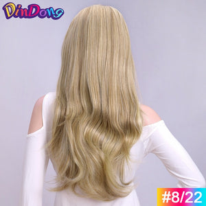 DinDong Synthetic Wigs 3/4 Half Wig Clip in Hair Extensions Blonde Brown For Women 24 inch 210G Premium Heat Resistant Hair