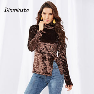 Dinminsta New Spring Women Velvet Shiny Side Slit T Shirt Female Turtleneck Long