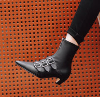 Dipsloot Hot 2019 Women 3 Buckles Embellished Low Heels Ankle Boots