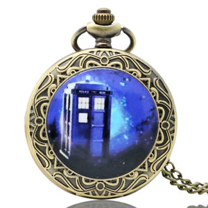 Doctor Who Theme Pocket Watches Exquisite Necklace Clock Dr. Who Quartz Pocket Pendant Clock with Chain for Men Women Gifts