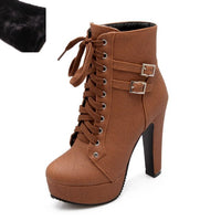 DoraTasia 2019 Autumn Winter Women Ankle Boots High Heels Platform
