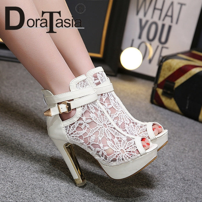 DoraTasia 2019 New Square High Heels Belt Buckle Peep Toe Hollow Platform