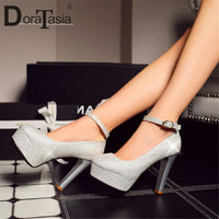 DoraTasia New Plus Size 28-52 Sexy Party Women Pumps Thick Platfrom