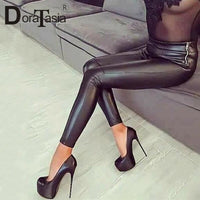 DoraTasia quality fake leather evening pumps women spring autumn 2019 night club 13cm super high thin heels party shoes woman