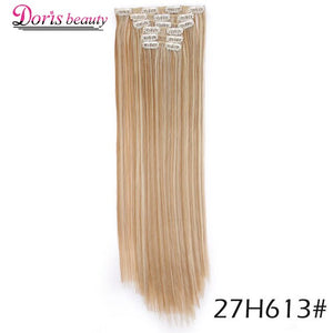 Doris beauty 21Colors 16Clips Long Straight Synthetic Hair Extensions Clips in High Temperature Fiber Brown Black Blonde Hair