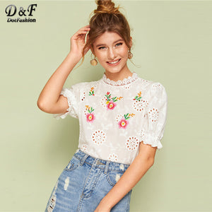 Collar Embroidered Eyelet Blouse Women 2019 Summer Short Sleeve Top