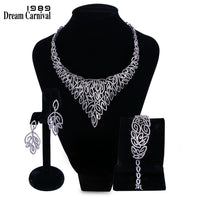 DreamCarnival 1989 Big Luxury Style Statement Wedding Accessories Choker Necklace Earrings Zirconia Bridal Jewelry Set B16087W1