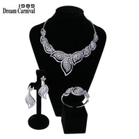 DreamCarnival 1989 Luxury Elegant White Cubic Zirconia Top Quality Wedding Jewelry Bride 3 pieces Set for Women Marriage B16615